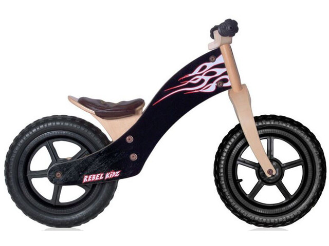 """Rebel Kidz Wood Løbecykel 12"""" Børn, flames/black"""